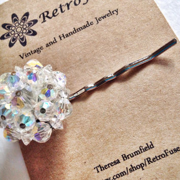 Iridescent beaded hair pin made from 1950s vintage earring, clear crystal hair ornament, recycled jewelry, boho chic, wedding, bridal
