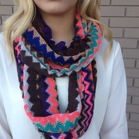 Purple Gold Mint Zig Zag Knit Sparkle Infinity Scarf - Purple Gold Mint Zig Zag Knit Sparkle Infinity Scarf