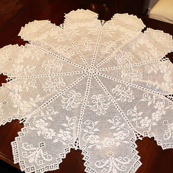White Irish Crochet Table Cover or Table Topper, L109