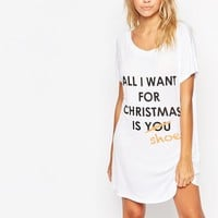 Adolescent Clothing All I Want Christmas Gift Nightshirt