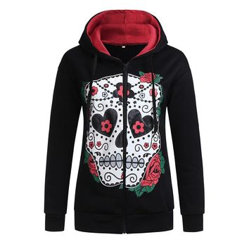 Autumn and Winter Print Hooded Long Sleeve fashion jacket