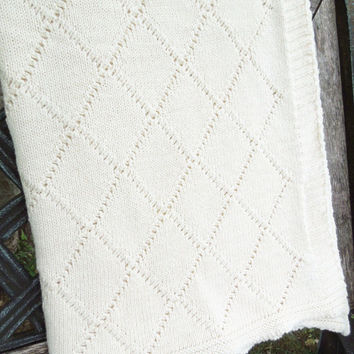 "Eggshell white knit afghan throw blanket - Off-white knitted afghan 36"" x 54"""