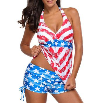 Women American USA Flag Print Stars Beach Halter Surfing Bathing Suit Swimwear