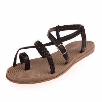 Pu Pure Color Bandage Strappy Clip Toe Flat Roman Sandals Gladiators