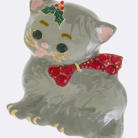 CAT WITH A CHRISTMAS BOW ACCENT BROOCH PENDANT