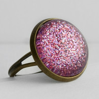 Pink Glitter Ring in Antique Bronze - Pink, Purple & Fuchsia Glitter Ring
