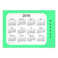 2016 Pale Green Calendar by Janz 7x5 Magnet Magnetic Invitations