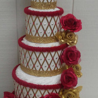 Red and Gold Beauty and the Beast Baby Shower 5 Tier Diaper Cake Prince