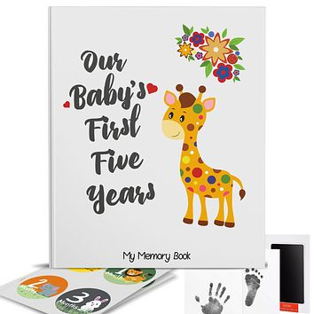 Novarena First 5 Years Baby Memory Book with 48 Pack Monthly Milestones Stickers & Clean-Touch Baby Safe Ink Pad Make Baby's Hand & Footprint (Giraffe and Jungle Theme Unisex)