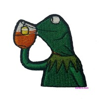 Kermit Drinking Tea Thats None of my Business Meme Iron on Patch Applique