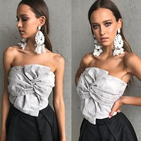 Strapless Bandage Pure Color Sleeveless Short Crop Top