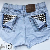 light classic blue / Levi's vintage denim / pyramid pocket studs & destroyed / mid-rise shorts