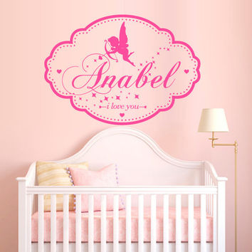 Wall Decal Vinyl Sticker Art Decor Custom Baby Name plate angel wings Cupid love word letter monogram sign Gift Kid Children Nursery (m1390)