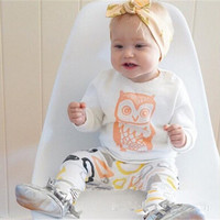 2016 new Arrivals baby girl clothes set Long sleeve T shirt + pants owl pattern baby clothing set newborn baby costume