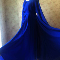 Royal blue Maxi dress, long sleeve maxi dress, women maxi beach dress, royal blue bridesmaid dress, royal blue wedding