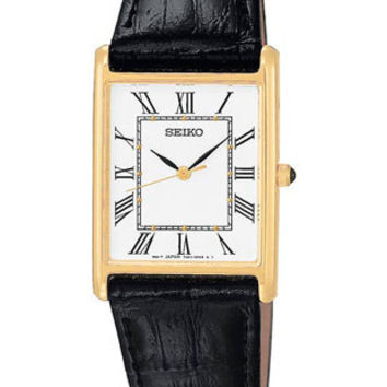 Seiko Men's Strap Watch - Gold-Tone - Square White Face - Black Strap