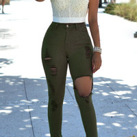 Olive Ripped Skinny Jeans