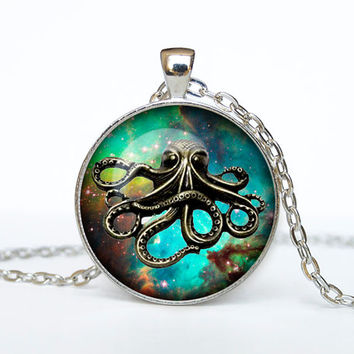 Steampunk octopus on the nebula pendant Steampunk octopus necklace Steampunk octopus jewelry for men for her