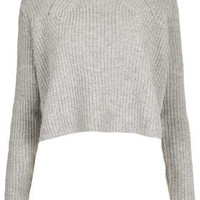 Knitted Ribbed Crop Jumper - Knitwear  - Clothing