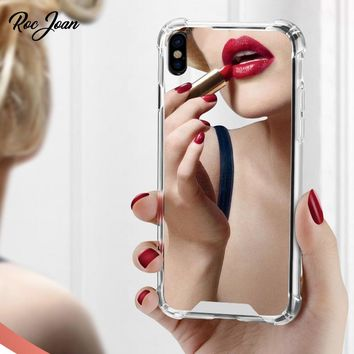 Roc Joan Mirror Case for iPhone X Anti Shock Hard Acrylic Back + TPU Cover for iPhoneX 10 Silver Gold Black Coque Fundas