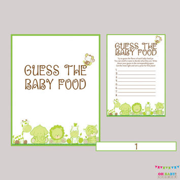 Guess the Baby Food Game Safari Neutral Baby Shower Game Baby Food Game - Printable Instant Download - Green Safari Baby Food Game BS0001-G