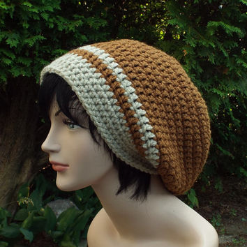 Chestnut Brown Slouch Beanie - Mens Crochet Hat - Oversized Slouchy Beanie with Oatmeal Trim - Chunky Hat - Baggy Beanie - Slouchy Hat