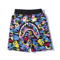Bape New fashion shark camouflage shorts Blue