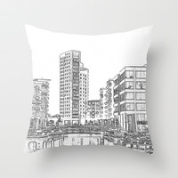 Clarence Dock Leeds Drawing Throw Pillow by Karl Wilson Photography