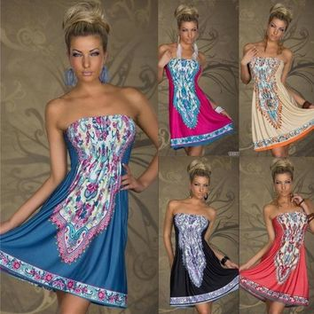 PEAPIX3 Fashion Retro Maxi Hippie Boho Hot Pink/Blue/Red Paisley Print Strapless Summer Sun Dress Casual = 1931627972
