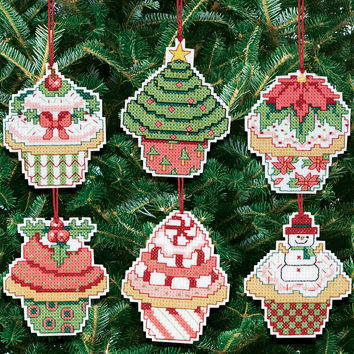 """Christmas Cupcake Ornaments Counted Cross Stitch Kit-3""""""""X3"""""""" 14 Count Set Of 6"""