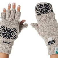 Alki'i 3M Thinsulate Thermal Insulation Fingerless Texting Gloves with Mitten Cover - Cream