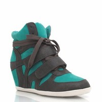 combo-high-top-wedge-sneakers BLACKBLACK BLACKGREY GREYFUCH GREYTEAL - GoJane.com