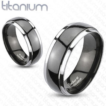 8mm Dome 2-Tone Black Band Ring Solid Titanium Wedding Band Men's Ring