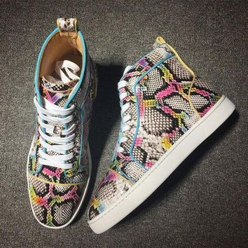 DCCK Cl Christian Louboutin Python Style #2280 Sneakers Fashion Shoes