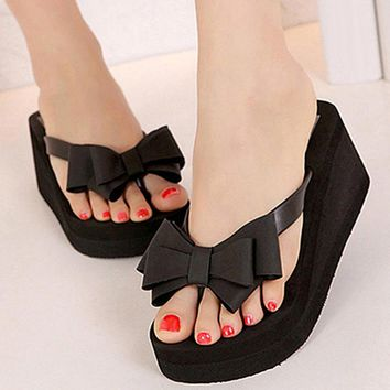 Women Fashion Platform Mid Heel Flip Flops Beach Sandals Bowknot Slippers Shoes