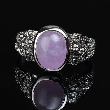 K's Gadgets Fashion Vintage Rings Onyx Three Colors Silver Color Oval Vintage Ring Natural Stone Green Stone Pink Stone Ring