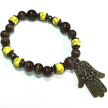 Hamsa Bracelet - Bohemian Bracelet - Stretch Bracelet - Hippie Bracelet -Yellow Wrap Bracelet -Brown Wrap Bracelet - Stocking Stuffer TDC603