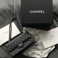 Chanel Black Medium Flap Bag Caviar Leather Palladium Hardware Dustbag Box