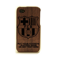 iphone 4 wood case, Barcelona iphone cover, wood iphone 4 cover, soccer FC Barcelona wooden case