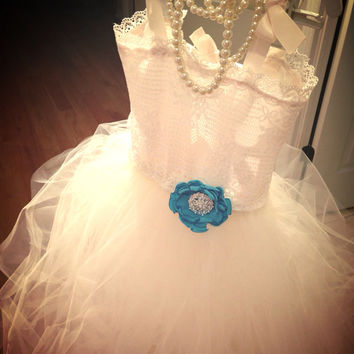 "The ""Campbell"" dress Ivory brooch Tiffany blue lace flower girl tutu dress- flower girl dress-birthday girl dress-vintage dress"