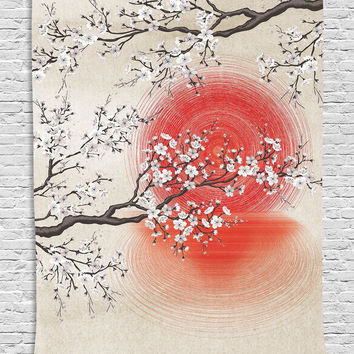 trendyystuf Cherry Blossom Sakura Branches Japanese Sun and Reflection Shadow Design Patterns Cream Pearl Wall Decor Living Room Bedroom Tapestry Wall Hanging, Beige Brown Red White
