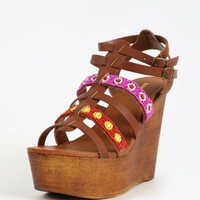 Bamboo Woobery-12 Strappy Beaded Wedges | MakeMeChic.com