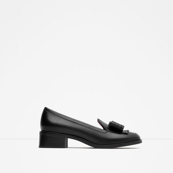 LEATHER LOAFERS WITH BOW - Flats-SHOES-WOMAN | ZARA United States