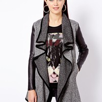 River Island Longline Waterfall Jacket With Leather Look Sleeve