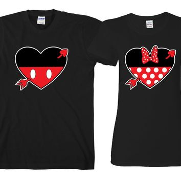 "Hearts Cartoon Theme ""Cute Couples Matching T-shirts"""