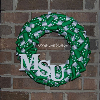 "10% off Michigan State University 16"" Green and White Ribbon Wreath - MSU Spartans"