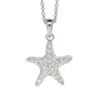 Dear Deer White Gold Plated Cubic Zirconia Starfish Star Pendant Necklace