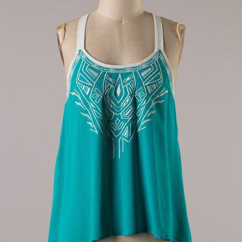 Embroider Green Tank Top