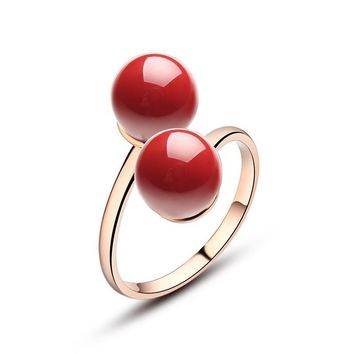 Red Coral Double Ball Adjustable Ring