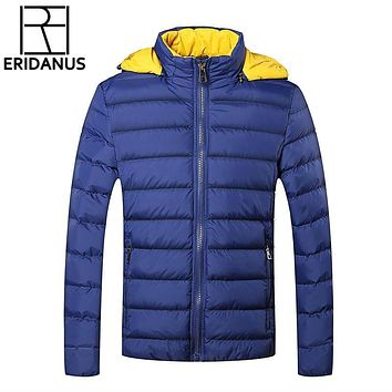 Winter Jackets Mens 2016 New Stylish Slim Fit Quilted Long Sleeve Cotton-Padded Casual Solid Thick Hooded Parkas Size M-5XL M403